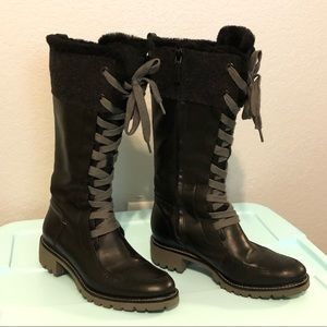 Cole Haan Black lace up & Zipper WaterProof Boots